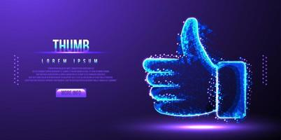 thumb like low poly wireframe vector illustration