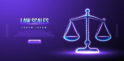 law scales, judge balance, low poly wireframe vector illustration