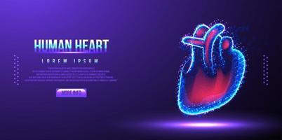 Ilustración de vector de estructura metálica de baja poli corazón humano
