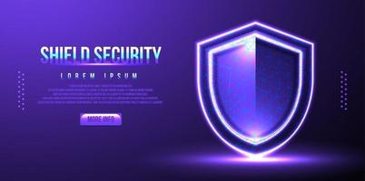 shield security concept, low poly wireframe vector illustration