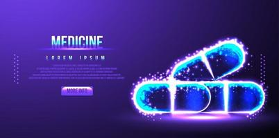 Pill medicine, medical pharmaceutical, low poly wireframe vector illustration