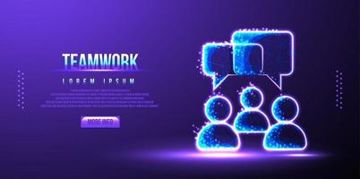 leadership ,teamwork speech low poly wireframe vector illustration