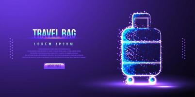 bolsa de viaje, ilustración de vector de página de destino de estructura metálica de baja poli