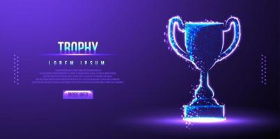 trophy award, low poly wireframe vector illustrtation