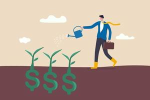 investor businessman watering a money plant vector