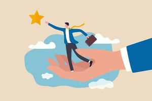 businessman about to overcome an obstacle reaching the star in the sky vector