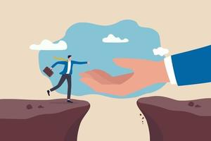 Big hand reaching to help a businessman jumping over the cliffs vector