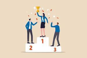 Mujer inteligente líder de equipo 1er ganador con copa de campeón celebrando el éxito de la competencia empresarial vector
