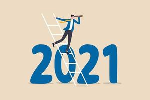 businessman leader using a telescope to see on top of ladder above year 2021 number vector