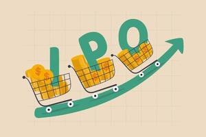 New stock IPO, initial public offering company going public to trade in stock exchange market concept vector