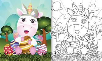 libro para colorear para niños con temática de pascua con un lindo unicornio usando diademas de orejas de conejo abrazando huevos vector
