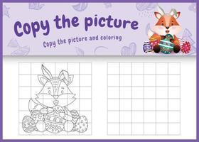 Copie la imagen del juego para niños y la página para colorear temática de pascua con un lindo zorro usando diademas de orejas de conejo abrazando huevos vector