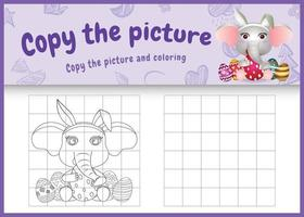 copia la imagen del juego para niños y la página para colorear de pascua con un lindo elefante usando diademas de orejas de conejo abrazando huevos vector