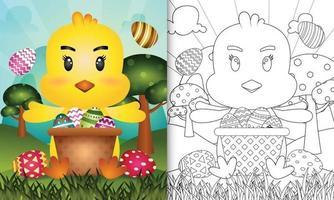 Libro para colorear para niños con temática feliz día de pascua con ilustración de personaje de un lindo pollito en el cubo de huevo vector