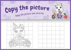 copia la imagen del juego para niños y la página para colorear de pascua con un lindo oso polar usando diademas de orejas de conejo abrazando huevos vector