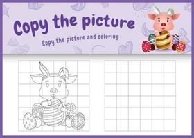 copy the picture kids game and coloring page themed easter with a cute pig using bunny ears headbands hugging eggs vector