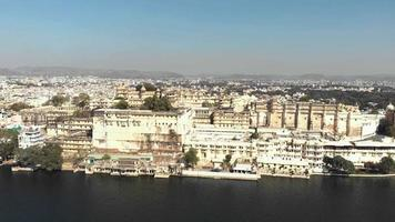 Majestic cityscape of Udaipur city, India. Aerial forward video