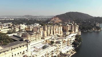 Fly over Taj Fateh Prakash Palace and view of Shiv Niwas Palace, Udaipur video