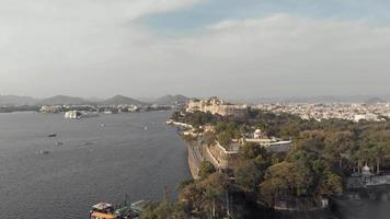 4k aerial drone footage of the exotic city of Udaipur, India and the Lake Pichola. video