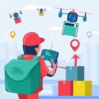 El hombre opera drones para entregar artículos de forma remota. vector