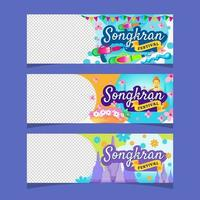 Songkran Thai Festival Banner Set vector