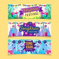 Colorful Songkran Festival Banner Template vector