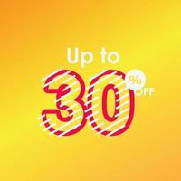 Discount up to 30 off Label Sale Line Logo Vector Template Design Illustration
