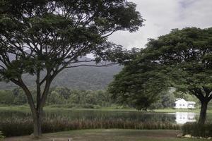 casa blanca en un lago