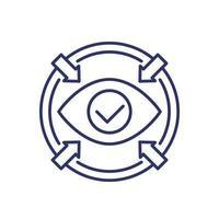 icono de enfoque con ojo, vector de línea