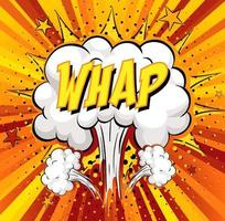 WHAP text on comic cloud explosion on rays background vector