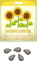 Sunflower seeds with packaging vector