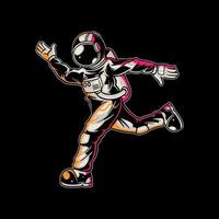Astronaut running on space vector
