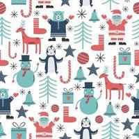 patrón sin fisuras con pingüino, muñeco de nieve, ciervo, santa claus y adorno navideño vector