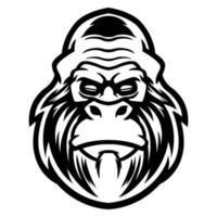 Vector t-shirt and apparel design, print, poster with styled face of a chimp ape. Gorilla head with anger expression isolated on white background. Illustration for cool dude mascot