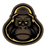 Vector cool wild monkey in cartoon character. Vintage colored of a head of a chimp ape. Wildlife concept. Super dude slogan graphic for t-shirt and apparel design, fabric print or other uses.