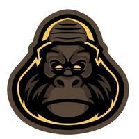 vector mono salvaje fresco en personaje de dibujos animados. color de la vendimia de una cabeza de un mono chimpancé. concepto de vida silvestre. gráfico de eslogan super dude para el diseño de camisetas y prendas de vestir, estampado de tela u otros usos.