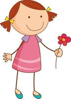 A girl cartoon character holding a flower in doodle style isolated vector