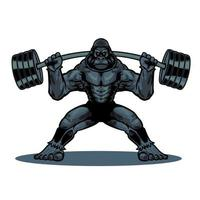 Hand drawn vintage colored gorilla with fitness barbell in cartoon character. Wild monkey isolated on white background. Vector illustration for t-shirt design, apparel and other uses