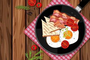 Breakfast set in the pan isolated