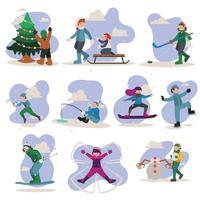 gente en el parque divirtiéndose y con actividades invernales, esquí, patinaje, pesca, niños jugando en la nieve, niños en trineo en ladera de la montaña. concepto de humor de invierno. Ilustración de vector de diseño de dibujos animados plana