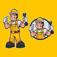 Ilustración de vector dibujado a mano de manitas carpintero feliz vistiendo ropa de trabajo y pose de pie aislado sobre fondo amarillo. Mascota de trabajador profesional en diseño de dibujos animados. ilustración vectorial