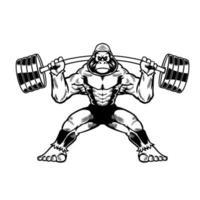 gorila fresco dibujado a mano con barra de fitness en personaje de dibujos animados. mono salvaje aislado sobre fondo blanco. sigue así. ilustración vectorial para el diseño de camisetas, prendas de vestir y otros usos
