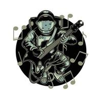 Astronaut playing guitar electric in space with melody sign. Happy cosmonaut play astro rock on planet vector cartoon illustration tee graphic wallpaper poster home textile print design