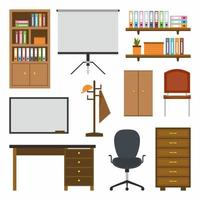 Home room and office interior constructor with cartoon office furniture, table, bookshelf, office chair, cupboard decorations and other elements. Business workplace creator set in flat design vector