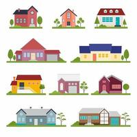 Set of various of townhouse building apartment and trees. Houses exterior vector illustration front view with roof in flat design. Hand drawn trendy illustration. Home facade with doors and windows