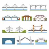 tipos de puentes establecidos. Arquitectura de puentes de ladrillo, hierro, madera y piedra que construyen elementos de puente en estilo plano. tema de la construcción de la ciudad. tipos de dibujos animados planos de puente. ilustración vectorial vector