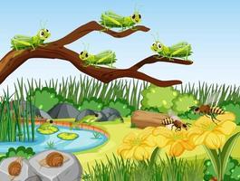 Garden scene with many grasshopper vector