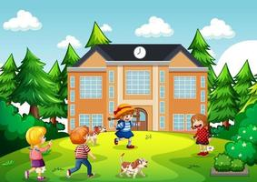Outdoor scene with many children playing in front of school building vector