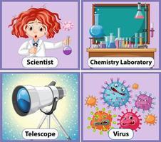 tarjeta de palabra inglesa educativa de objetos de química vector