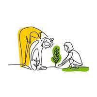 dibujo continuo de una línea de una madre joven que enseña a su hija a plantar. madre y su hijo trabajan en el jardín para cuidar sus plantas. concepto de aprendizaje de crianza feliz. ilustración vectorial vector